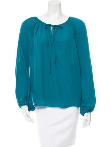 L'Agence Silk Long Sleeve Top