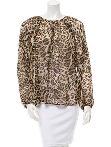 L'Agence Cheetah Print Draped Top None