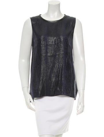 L'Agence Leather-Trimmed Metallic Top None