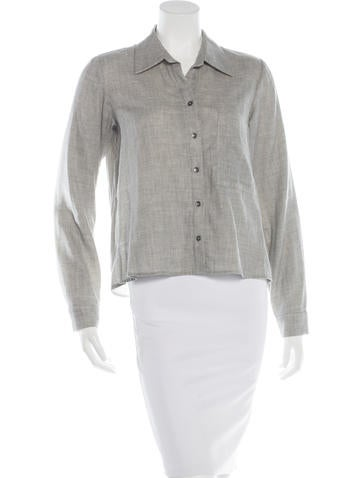 L'Agence Double Weave Button-Up Top None