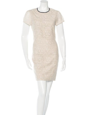 L'Agence Lace Short Sleeve Dress None
