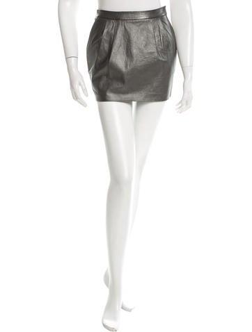 L'Agence Metallic Leather Mini Skirt None
