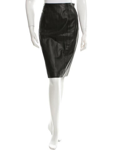 L'Agence Leather Knee-Length Skirt None