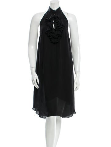 L'Agence Silk Ruffle-Accented Dress None