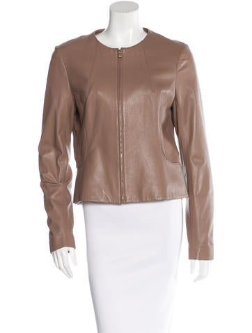 L'Agence Long Sleeve Leather Jacket None