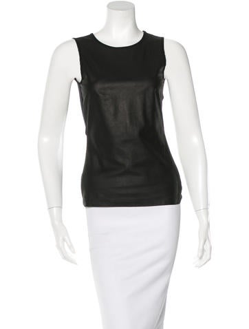 L'Agence Sleeveless Leather Top None
