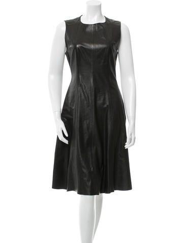 L'Agence Leather Midi Dress None
