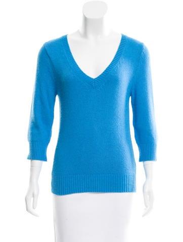 L'Agence Rib Knit V-Neck Sweater None