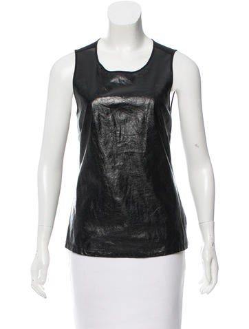 L'Agence Leather Sleeveless Top None