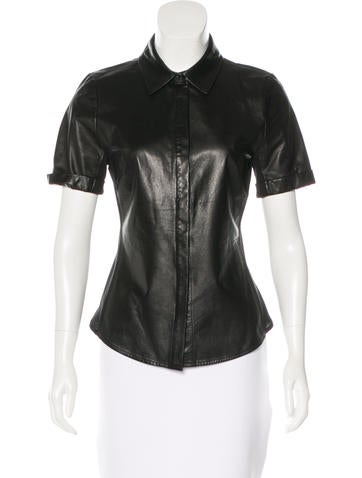 L'Agence Leather Button-Up Top None