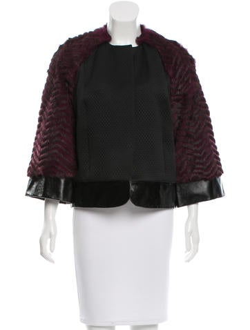 L'Agence Fur-Accented Collarless Jacket w/ Tags