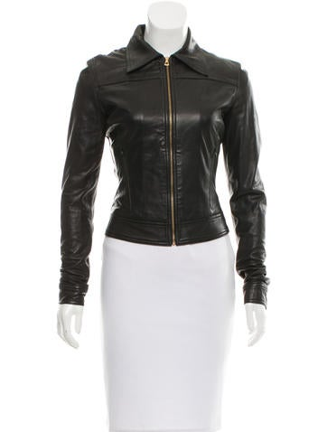 L'Agence Leather Zip-Up Jacket None