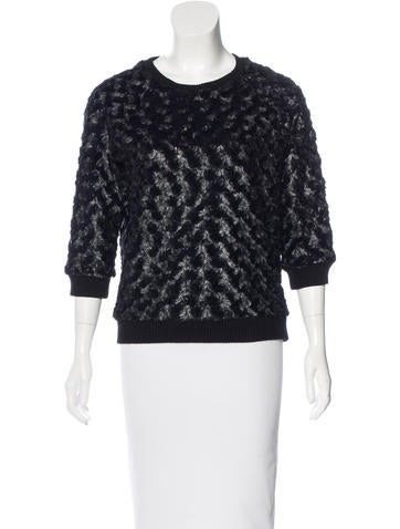 L'Agence Faux Fur-Trimmed Round Neck Sweater None