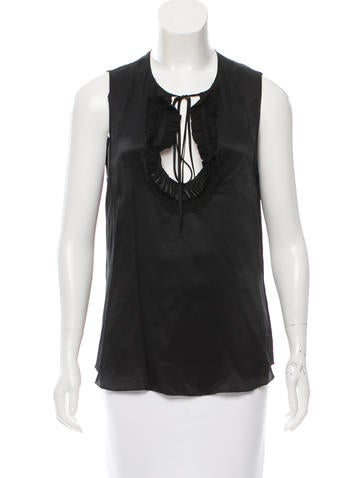 L'Agence Silk Leather-Trimmed Top None