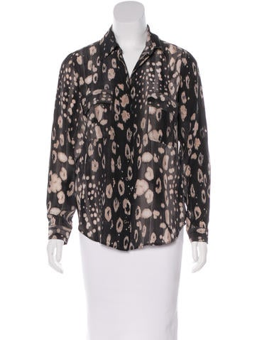 L'Agence Printed Silk Top None