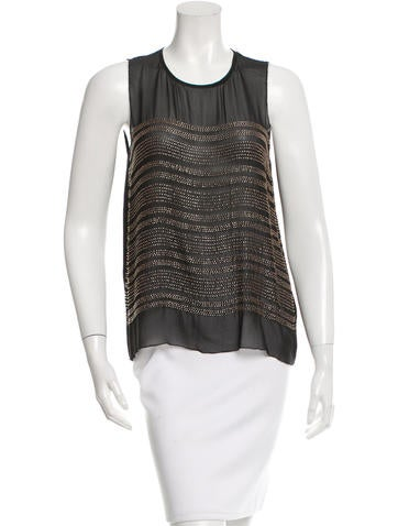 L'Agence Beaded Silk Top None