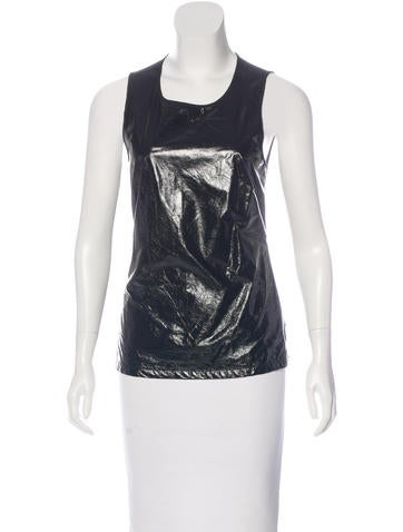 L'Agence Patent Leather Sleeveless Top None