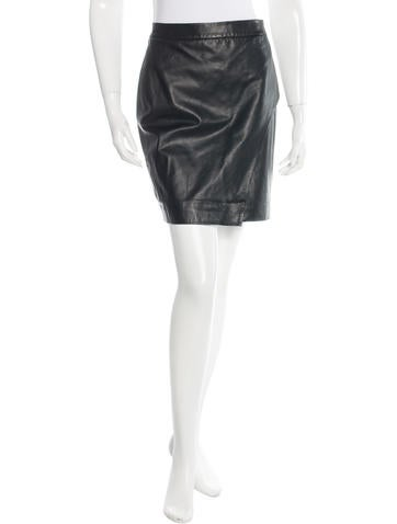 L'Agence Leather Mini Skirt None
