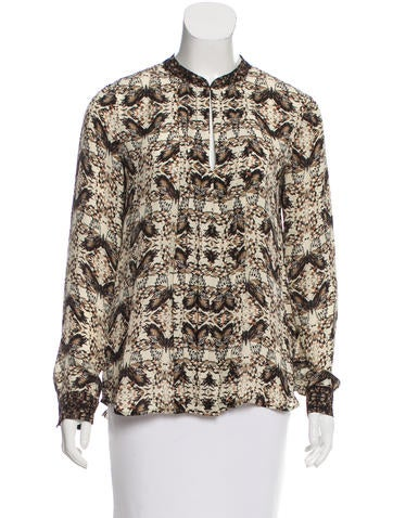 L'Agence Silk Butterfly Print Top None