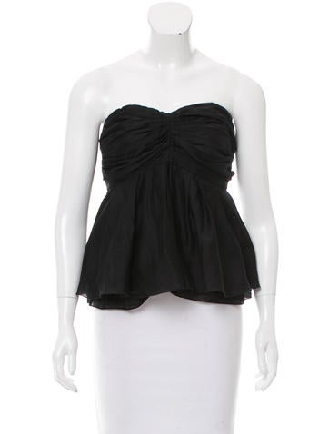 L'Agence Strapless Peplum Top None
