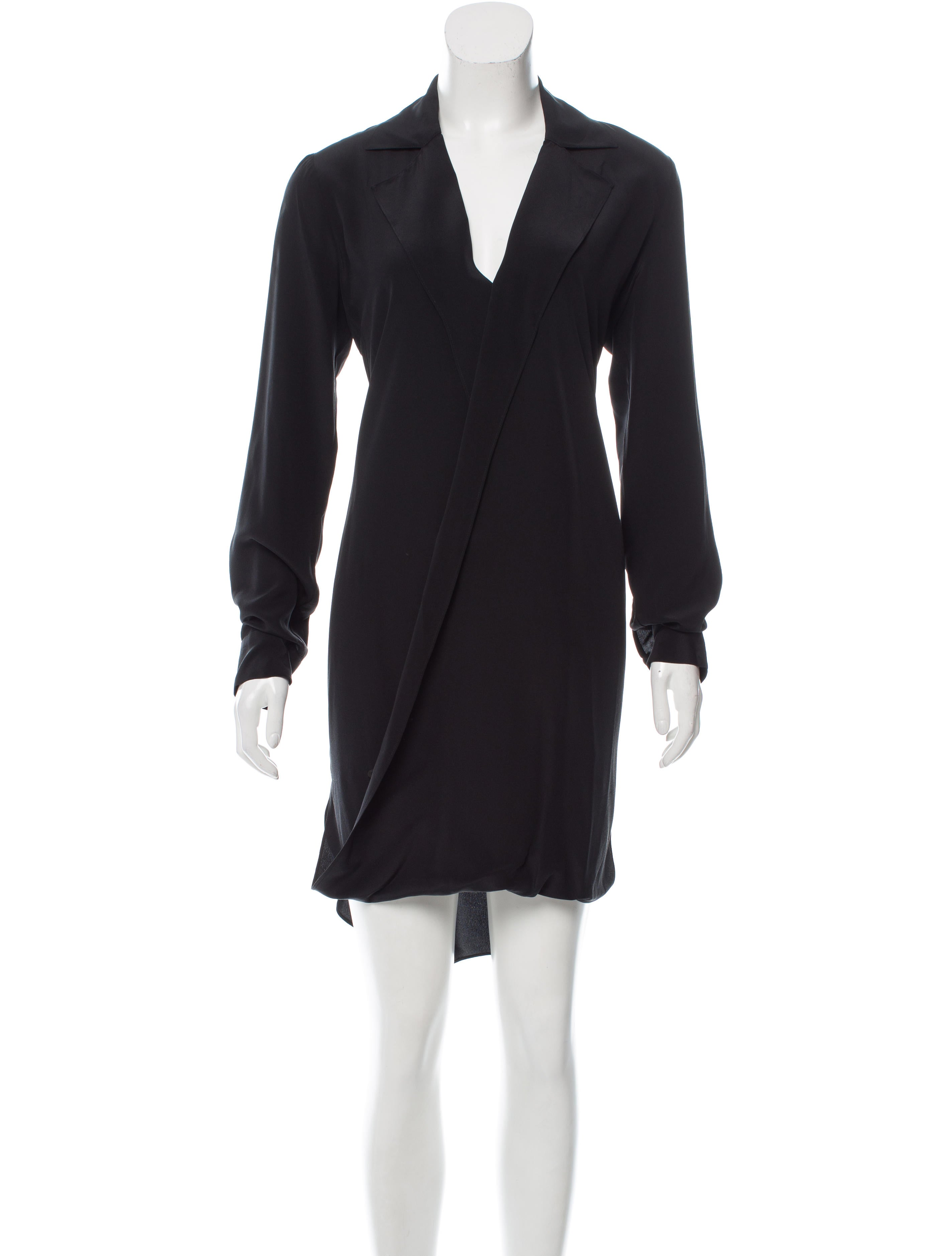 L 39 agence long sleeve silk shirt dress clothing for Long sleeve silk shirt dress