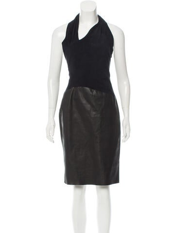 L'Agence Leather Halter Dress None