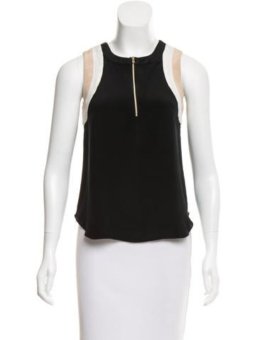 L'Agence Silk Sleeveless Top None