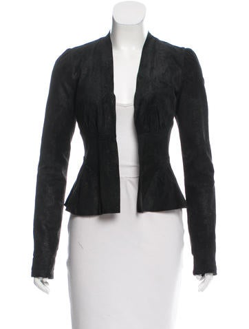 L'Agence Open-Front Distressed Leather Jacket None