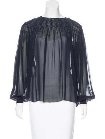 L'Agence Silk Ruched Top None