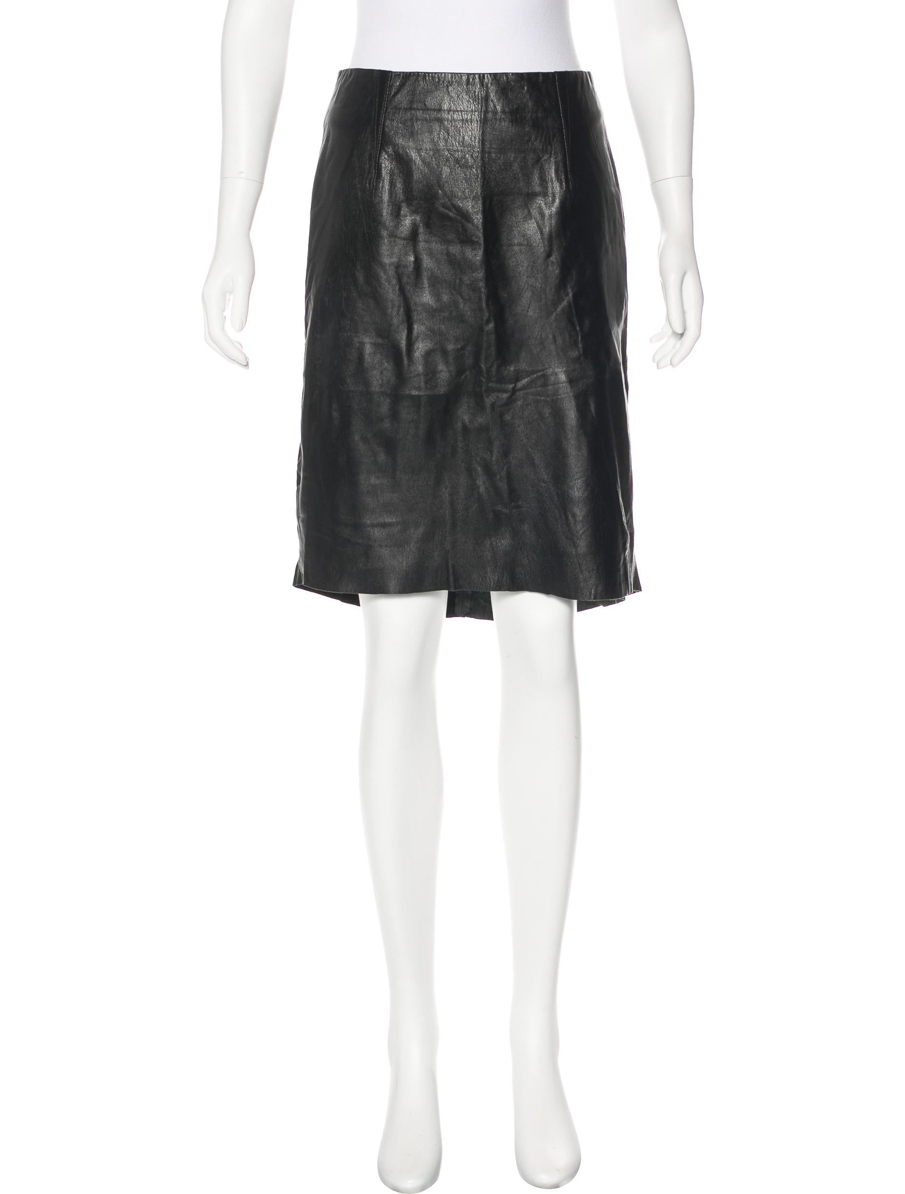 l agence leather knee length skirt clothing wl327307