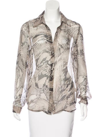 L'Agence Silk Printed Top None