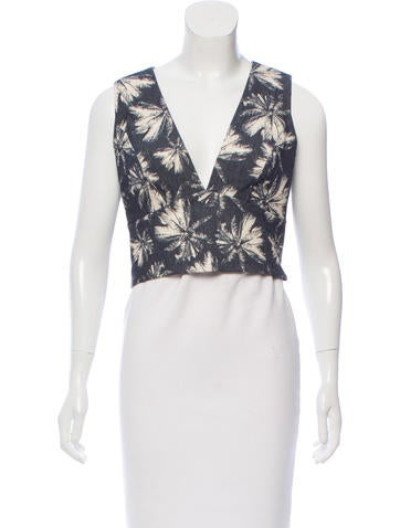 L'Agence Printed Sleeveless Top None