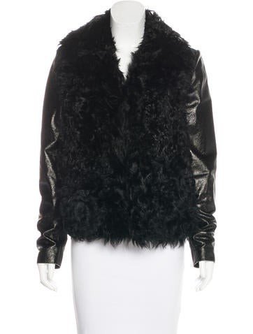 L'Agence Lamb Fur-Trimmed Leather Jacket None