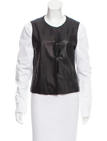 L'Agence Collarless Leather Jacket None
