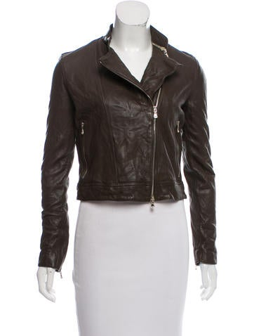 L'Agence Asymmetrical Leather Jacket None