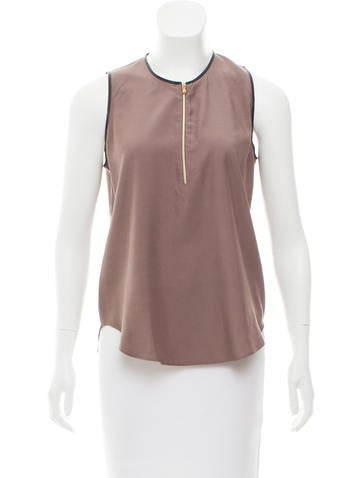 L'Agence Leather-Trimmed Sleeveless Top None