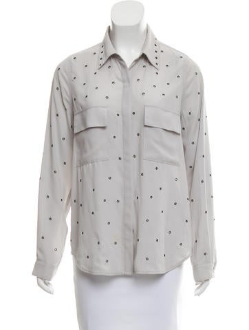 L'Agence Grommet-Accented Button-Up Top None