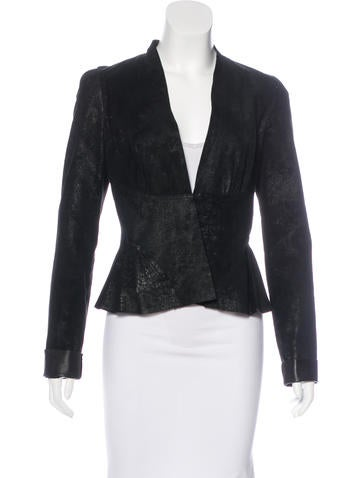 L'Agence Leather V-Neck Jacket None