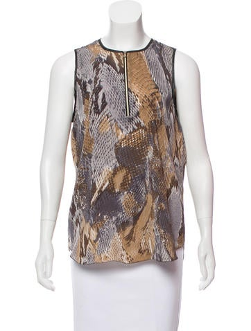 L'Agence Sleeveless Printed Top None