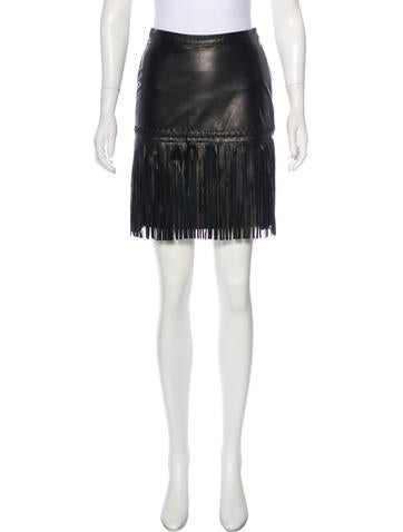 L'Agence Leather Fringe Skirt None
