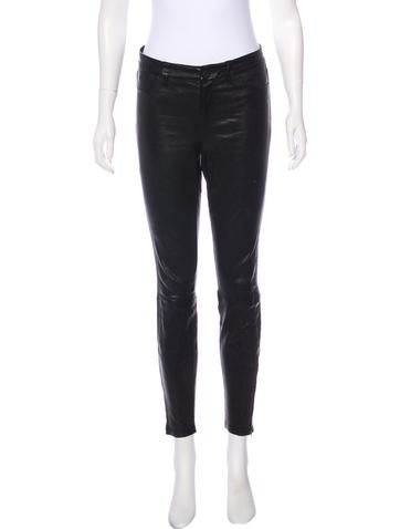 L'Agence Mid-Rise Leather Skinny Pants None