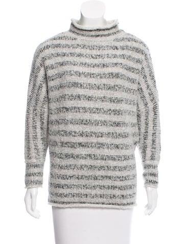 L'Agence Stripe Mock Neck Sweater None