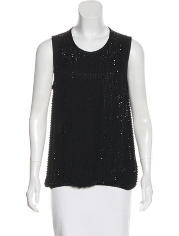 L'Agence Embellished Silk Sleeveless Top None