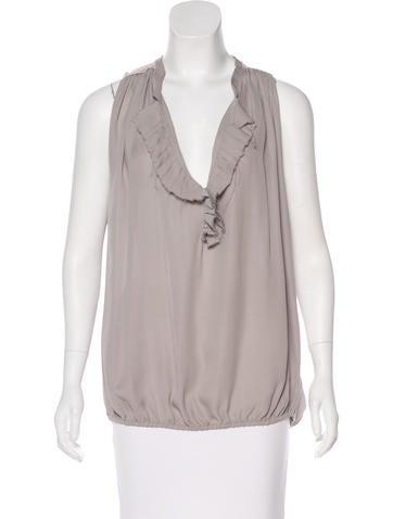 L'Agence Sleeveless Silk Top None