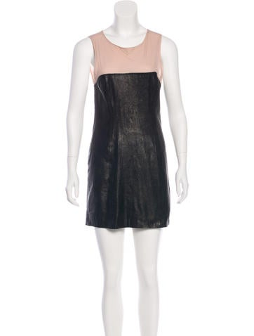 L'Agence Sleeveless Leather Mini Dress None
