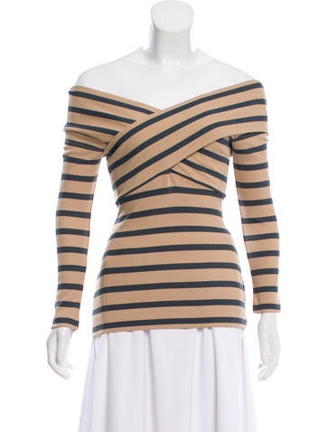 L'Agence Off-the-Shoulder Rib Knit Top w/ Tags None