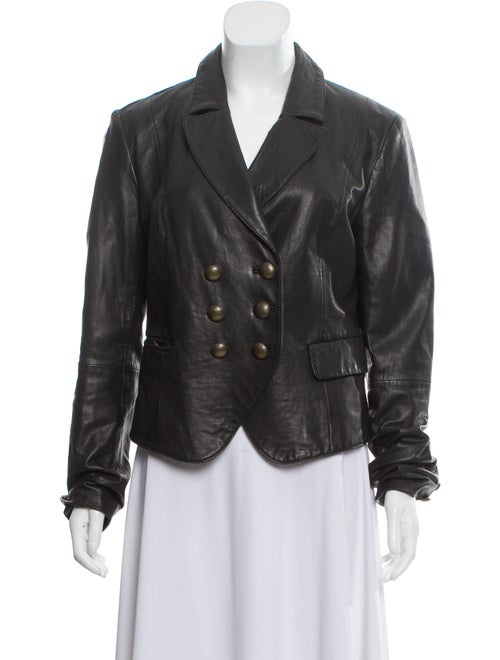 L'Agence Lamb Leather Blazer Black