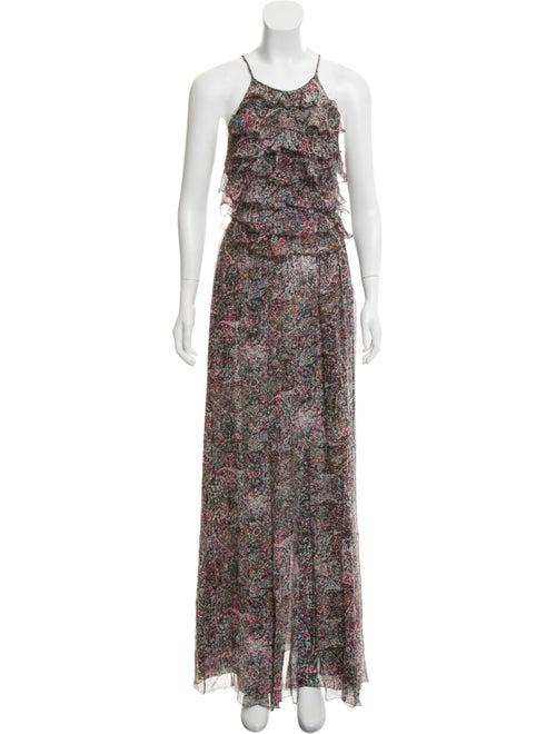 L'Agence Silk Ruffle Maxi Dress