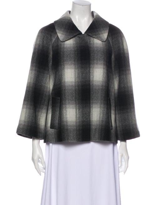 L'Agence Wool Plaid Print Cape Wool