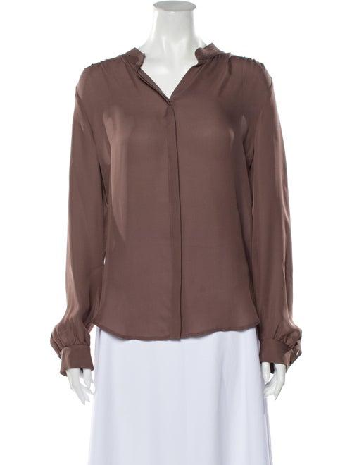 L'Agence Silk V-Neck Button-Up Top Purple